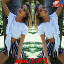 Summer Women Striped Color Matching Short Pants Boho Beach H