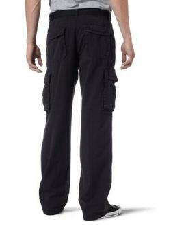Unionbay Men's Survivor Cotton Twill Belted Black Cargo Pant