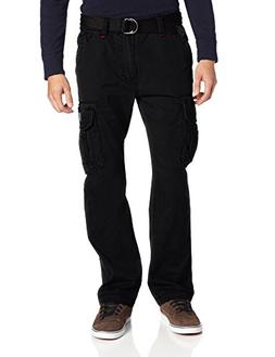 Unionbay Men's Survivor Cotton Twill Belted Black Cargo Pant