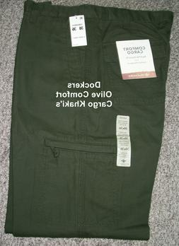 Tall Mens DOCKERS Classic Fit Olive Comfort Cargo Khaki Pant