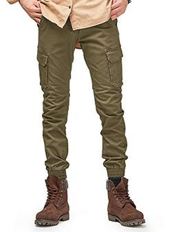 OCHENTA Men's Tapred Leg Jogger Pants, Stretch Twill Cargo P