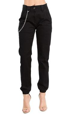 TwiinSisters Women's High Rise Slim Fit Color Jogger Pants M