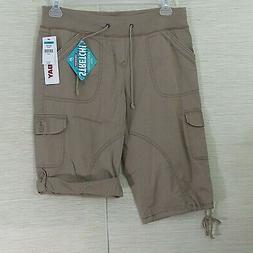 Union Bay Juniors size 9 Khaki Cargo Cropped Capri Pants Pul