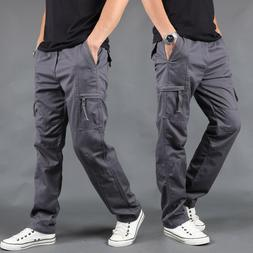 Mens Cargo Pants Pocket Work Tactical Trousers Jogger Army M