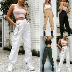 US Fashion Women Cargo Pants High Waist Jogger Casual Trouse