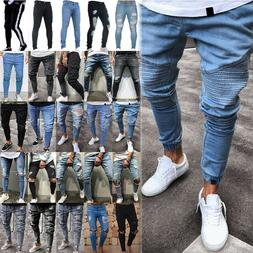 US Mens Ripped Biker Skinny Jeans Frayed Destroyed Trousers