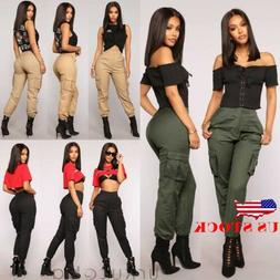 US Womens Camo Cargo Trousers Casual Pants Military Army Com