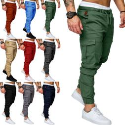 USA Mens Casual Cargo Track Pants Joggers Trousers Jogging B