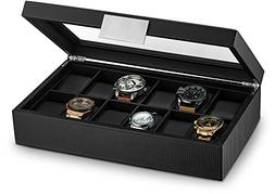 Glenor Co Watch Box Men - 12 Slot Luxury Carbon Fiber Design