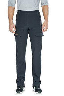 Nonwe Men's Windproof Fleece Lined Cargo Snow Ski Pants Gray