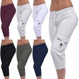 Women Cargo Cropped Pants Sport Joggers Sweatpants Casual Ca