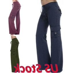 Women Cargo Pants Combat Trousers Sports Wide Leg Long Pocke