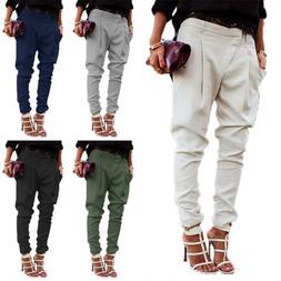 Women Casual Harem Pants Lady Skinny Solid Cargo Jogger Trou