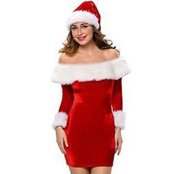 Usstore  Women Christmas Off-Shoulder Mini Dress Winter Char