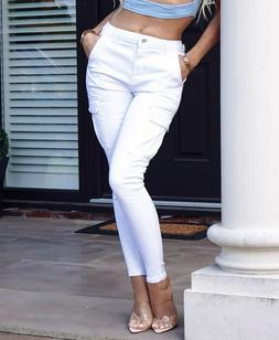 Women High Waist Skinny Jeans Stretch Pencil Cargo Pants Cas