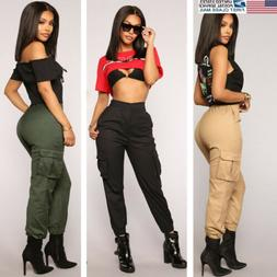 Women High Waisted Cargo Trousers Cotton Pants Solid Punk Lo