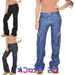 Women Loose Jeans Denim Pants Cargo Pockets Overalls Slouch
