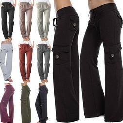 Women Loose Yoga Cargo Pants Wide Leg Palazzo Sport Pockets