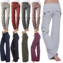 Women Loose Yoga Cargo Pants Wide Leg Palazzo Sports Pockets