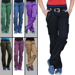 Women Match Cargo Pants Solid Military Army Combat Style Cot