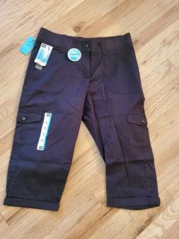 Women's LEE 1889 Relaxed Fit Black Cargo Capri Pants 12P $48
