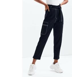 Kendall & Kylie Women's Black Belted Paper Bag Waist Cargo P