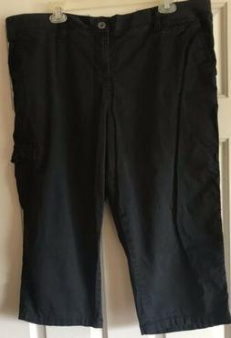 Women's Black Mid Rise Capris Cargo Pants Sonoma 18w Plus St