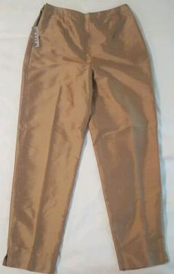 Kate Hill Women's Bronze Silk Pants Size 2  Petite, Lined, D