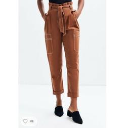 Kendall & Kylie Women's Brown Belted Paper Bag Waist Cargo P
