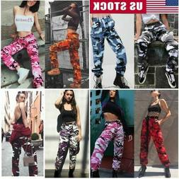 Women's Camo Cargo Trousers Pants Outdoor Military Army Comb