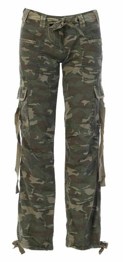 WOMEN'S CAMOUFLAGE RELAXED FIT PANTS CAMO MILITARY ARMY CARG