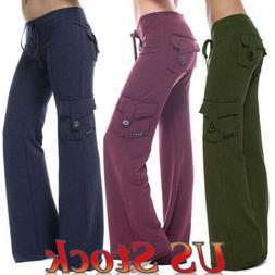 Women's Cargo Pants Pocket Overalls Dungarees Wide Leg Long