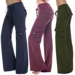 Women's Casual Pockets Cargo Pants Ladies Drawstring Straigh
