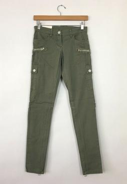 BLANK NYC Women's Mid Rise Cargo Ankle Skinny Jeans Olive Gr