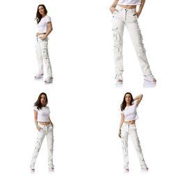 Ochenta Women'S Multi Pockets Utility Cargo Pants, Casual Co