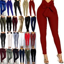 Women's Skinny Cargo Pencil Pants High Waist Stretch Slim Fi