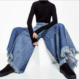 Women's Stitching Wide-leg Jeans High Waist Loose Color Matc