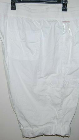 WOMEN'S WITHIN White CARGO  CAPRIS PANTS SZ 34 W NEW Roll Ta