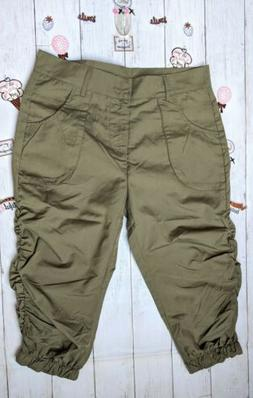 Women Size L Summer Army green Cargo cropped trouser 3/4 pan