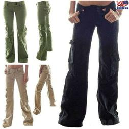 Women Straight Cargo Pants Ladies Girls Outdoor Sport Army M