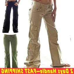 Womens Army Cargo Trousers Loose Sports Combat Long Straight
