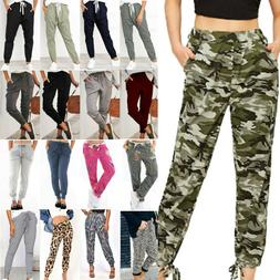Womens Camo Cargo Joggers Pants Ladies Summer Casual Bottoms
