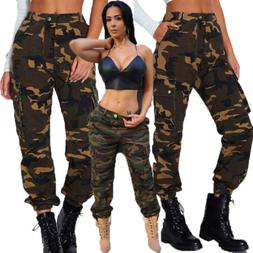 Womens Camo Cargo Trousers Casual Pants Military Army Combat