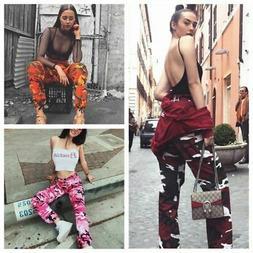 Womens High Waist Camo Pants Casual Cargo Joggers Trousers H