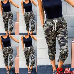 Womens Jogger Pants Camouflage Joggers Elastic Waist Casual
