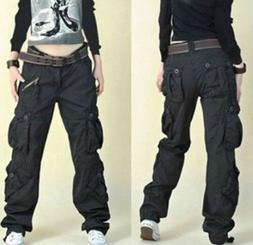Hot Chic Womens Military Army loose Cargo Pocket Pants Leisu