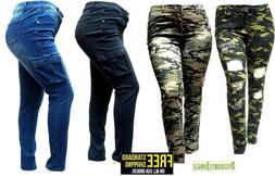 WOMENS PLUS SIZE Distressed Camouflage Skinny Blue Black DEN