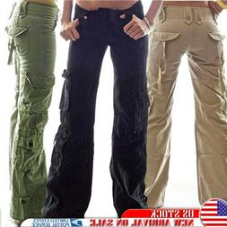 Womens Retro Cargo Trousers Army Loose Sports Combat Wide Le