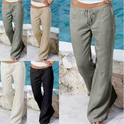 Womens Summer Linen Trousers Pants Leisure Holiday Beach Cas