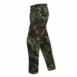 WOODLAND CAMOFLAGE MENS ROTHCO 5947 BDU PANTS 100%COTTON RIP
